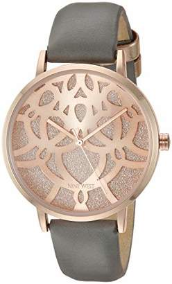 Nine West Women's NW/2198RGGY Rose Gold-Tone and Grey Strap Watch