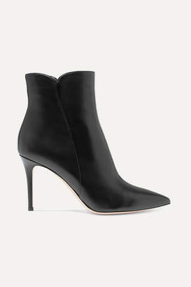 Gianvito Rossi Levy 85 Leather Ankle Boots - Black