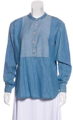Closed Linen-Blend Long Sleeve Tunic blue Linen-Blend Long Sleeve Tunic