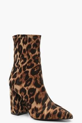 boohoo Leopard Block Heel Sock Boots