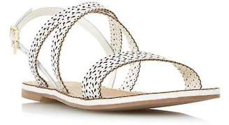 Dune Ladies LILO Laser Cut Flat Sandal in White