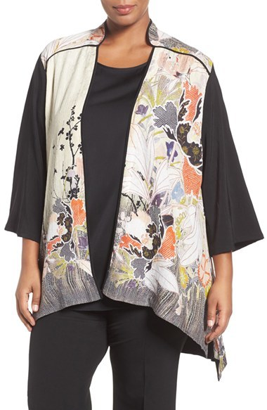 Citron Plus Size Women's Citron Print Block Silk Stand Collar Jacket