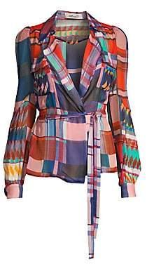 Diane von Furstenberg Women's Joanna Check Silk Wrap Blouse
