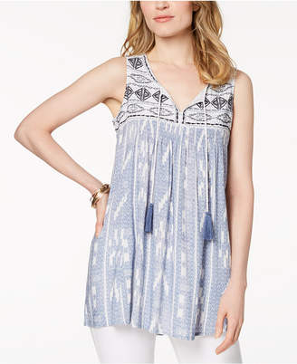 Style&Co. Style & Co Embroidered Mixed-Print Peasant Top, Created for Macy's