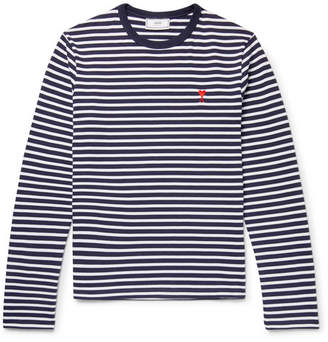 Ami Embroidered Striped Cotton T-Shirt