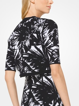 Michael Kors Palm Stretch-Viscose Jacquard Shrug