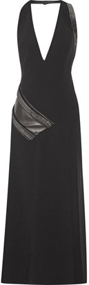 Mugler - Embellished Leather-paneled Crepe Dress - Black $3,040 thestylecure.com
