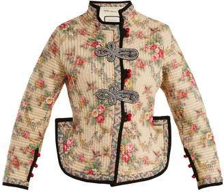 Gucci Floral-print quilted jacket