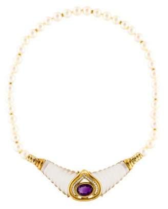18K Pearl & Multi-Stone Necklace Set white 18K Pearl & Multi-Stone Necklace Set