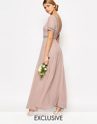 Maya Deep Back Maxi Dress with Full Skirt and Embellishment $130 thestylecure.com