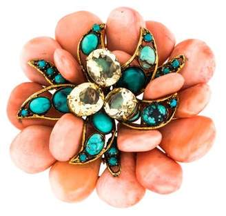 Iradj Moini Coral & Turquoise Flower Brooch