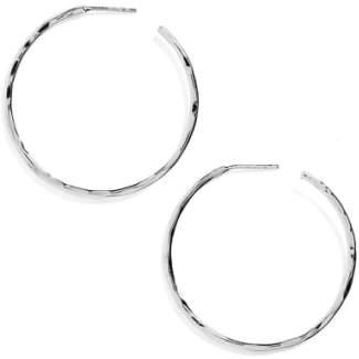 Argentovivo Medium Hammered Hoop Earrings