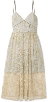 Self-Portrait Chain-trimmed Embroidered Tulle Midi Dress - Gold