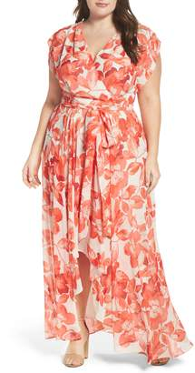 Eliza J Floral Chiffon High/Low Maxi Dress