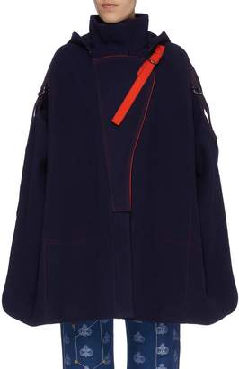Chloé D-ring strap hooded melton oversized high neck military cape