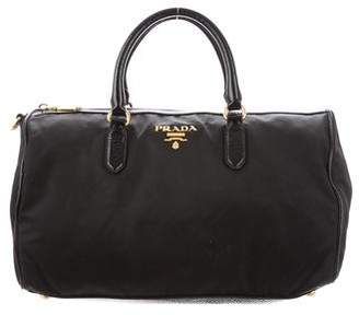 Prada Patent Leather-Trimmed Tessuto Handle Bag