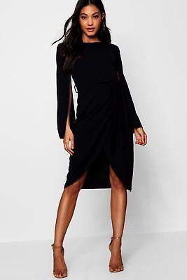 boohoo NEW Womens Cape Tailored Belted Midi Dress in Polyester 5% Elastane
