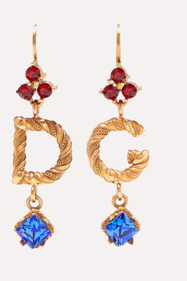 Dolce & Gabbana Gold-plated Crystal Earrings - Blue