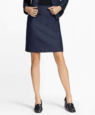 Soutache-Trimmed Denim Pencil Skirt $128 thestylecure.com
