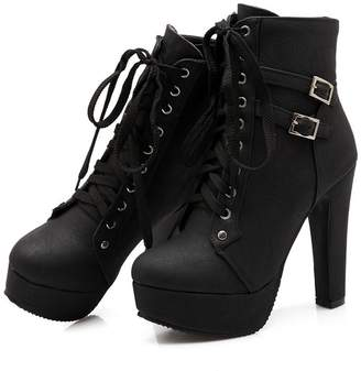 b7c5124630f at Amazon Canada · Susanny Women Autumn Round Toe Lace up Ankle Buckle Chunky  High Heel Platform Knight Martin Boots