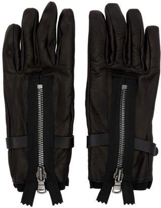The Viridi-anne Black Leather Zipper Gloves