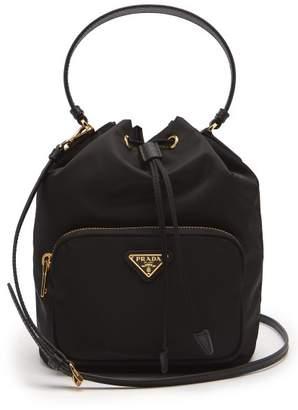 Prada Nylon And Leather Bucket Bag - Womens - Black