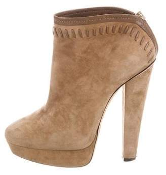 Jimmy Choo Suede Ankle Round-Toe Boots