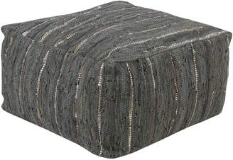 Surya Home Anthracite Woven Suede Pouf