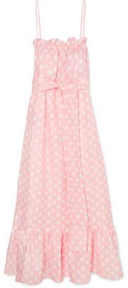 Lisa Marie Fernandez Liz Polka-dot Linen Maxi Dress - Baby pink