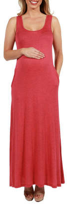 24/7 Comfort Apparel 24Seven Comfort Apparel Marion Sleeveless Maternity Maxi Dress