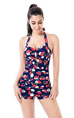 Seanami Dazzling Elegant Retro Inspired Boy-Leg One Piece Ruched Halter Swimsuit 2XL:US(20-22) - Amazon Vine