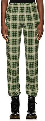 Marc Jacobs Women's Plaid Washed Silk Pants - Grn. Pat.