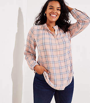 LOFT Plus Plaid Ruffle Henley Tunic
