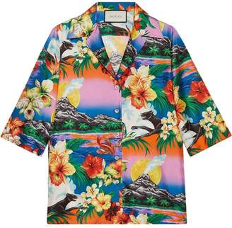 Gucci Hawaiian print silk shirt
