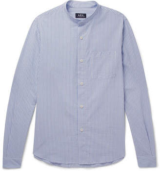 A.P.C. Robinson Grandad-Collar Striped Cotton-Seersucker Shirt