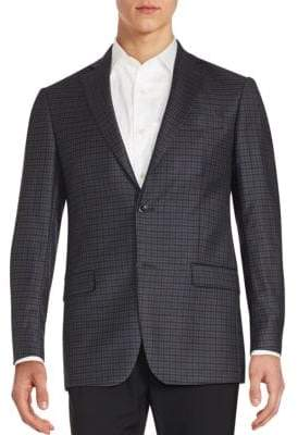 Michael Kors Plaid Two-Button Wool Blazer