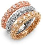 Saks Fifth Avenue Diamond & 14K Tricolor Gold Illusion Stackable Ring Set