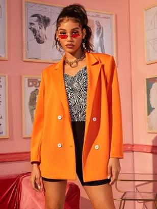 Shein Neon Orange Double Breasted Blazer