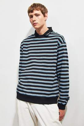 AJOBYAJO Striped Pique Collared Sweatshirt