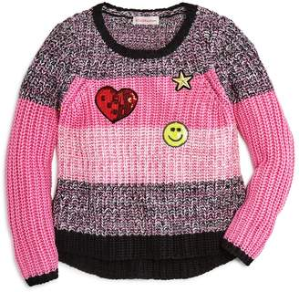 Design History Girls' Striped Sweater with Emoji Patches