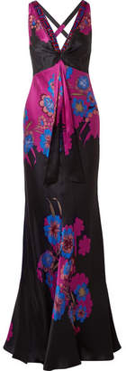 Etro Embellished Floral-print Silk-satin Gown - Black