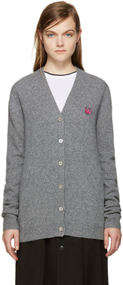 McQ Alexander Mcqueen Grey Embroidered Swallow Cardigan $420 thestylecure.com