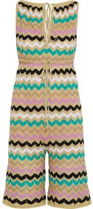 M Missoni Metallic Crochet Cotton-Blend Playsuit