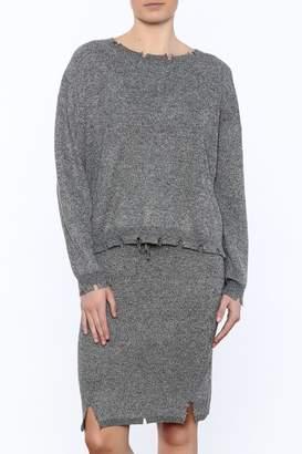 POL Waist Length Distressed Sweater