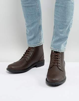 Brave Soul Milled Lace Up Boots In Brown