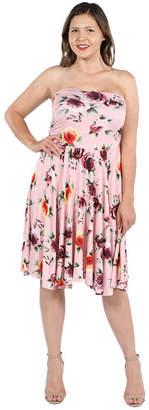 24/7 Comfort Apparel 24Seven Comfort Apparel Melina Pink Floral Strapless Dress - Plus