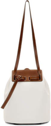 Loewe White and Brown Lazo Bucket Bag