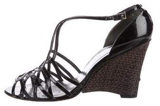 Stuart Weitzman Patent Leather Wedge Sandals