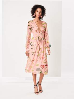 Oscar de la Renta Botanical Print Silk-Chiffon Dress