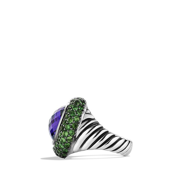 David Yurman Waverly Ring with Amethyst and Tsavorites